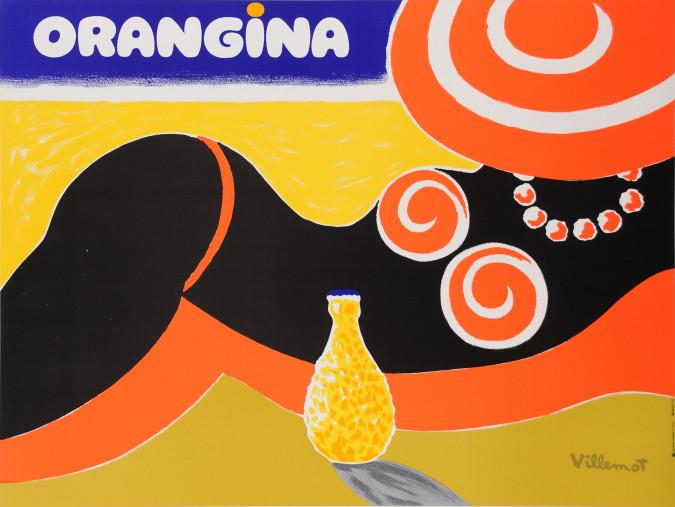"""Original Vintage French Orange Drink Poster """"Orangina"""" by Villemot"""