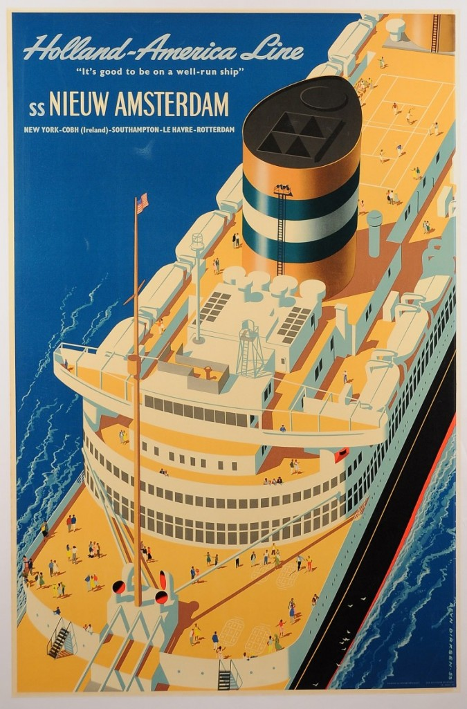 "Original Vintage Marine Travel Vintage Poster ""Nieuw Amsterdam"" 1954 Second Printing by Dirksen 1954"