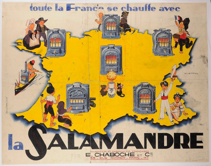 "French Advertising Poster ""La Salamandre!"" A whimsical poster"