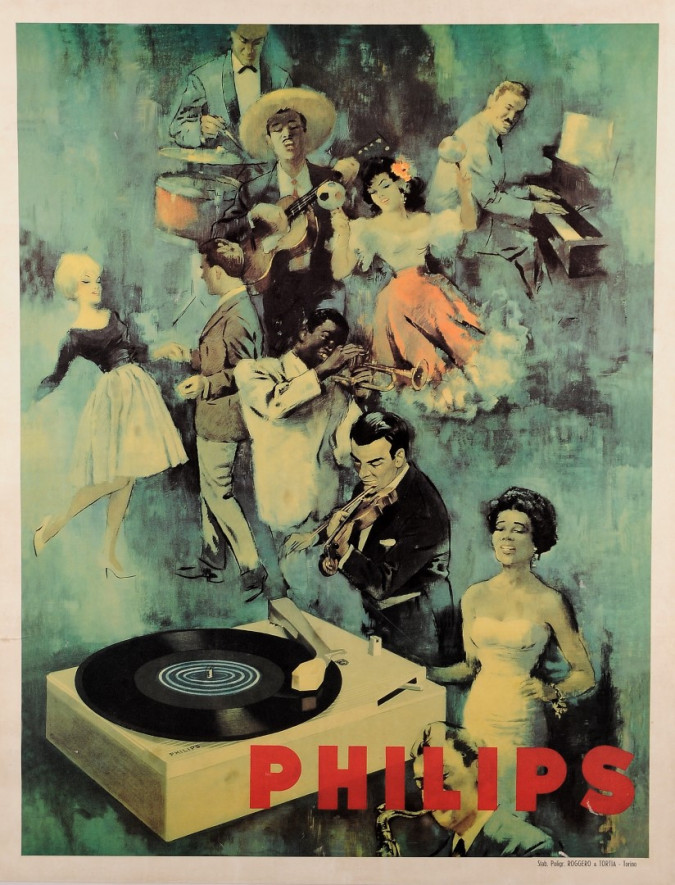 Original Vintage Advertising Poster PHILIPS ca. 1960
