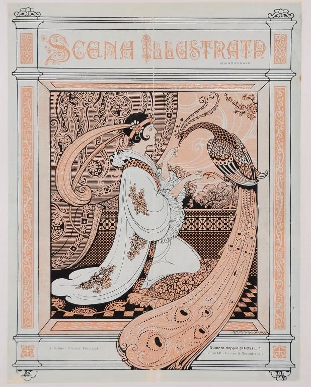 """Cover Print by Ezio Anichini Italian Magazine """"Scena Illustrata"""" November 1916"""