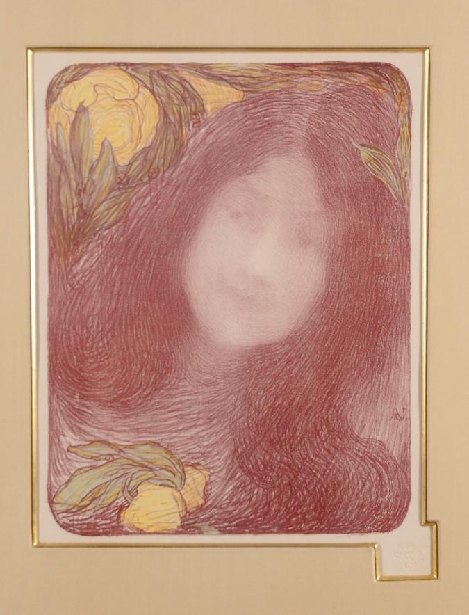 """Original Lithograph """"SOUS LES FLEURS"""" by Aman Jean for L'Estampe Moderne 1897"""