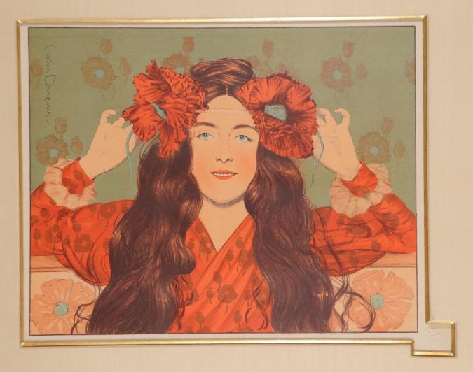 """Original Lithograph """"JEUNE FILLE AUX COQUELICOTS"""" Darbour L'Estampe Moderne 1897"""