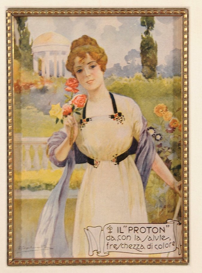 """Italian Lithograph Advertising Poster """"Proton"""" Beauty Product ca. 1880"""