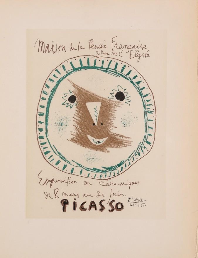 """Original French Lithograph """"Maison de la Pensee Francaise"""" PICASSO 1959"""