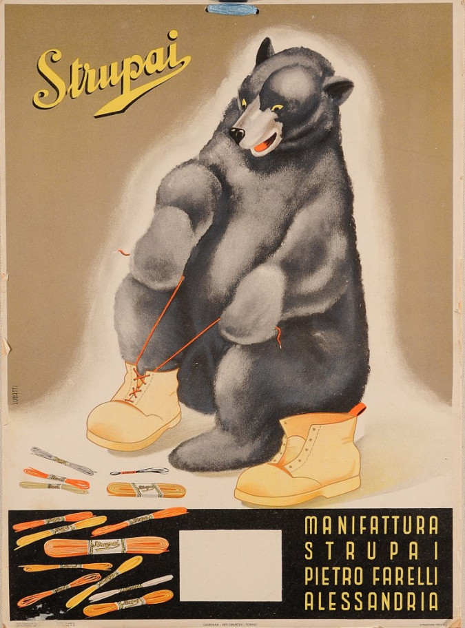 """Original Vintage Italian Advertising Poster for """"Strupai"""" Shoe Laces by Lubatti"""