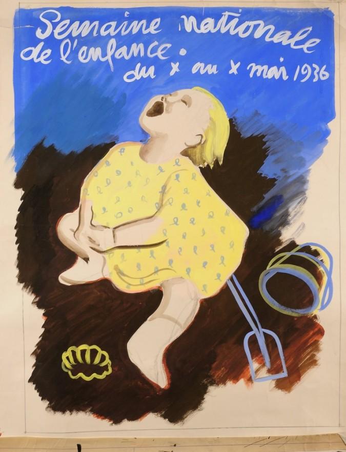 """Orginal Vintage French Children Maquette """"Semaine Nationale de l'Enfance"""""""