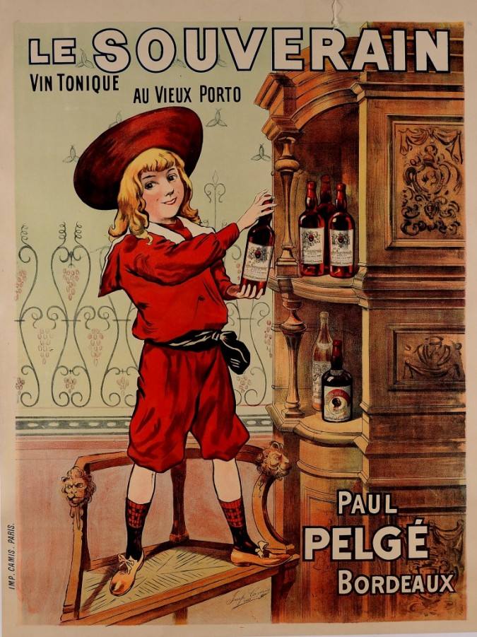 "Original Vintage French Poster ""Le Souverain"" Porto Wine by PAUL PELGE ca. 1900"