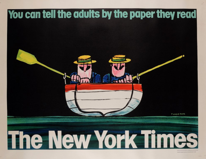 """Original Vintage Poster Advertising """"The New York Times"""" by UNGERER 1960's"""
