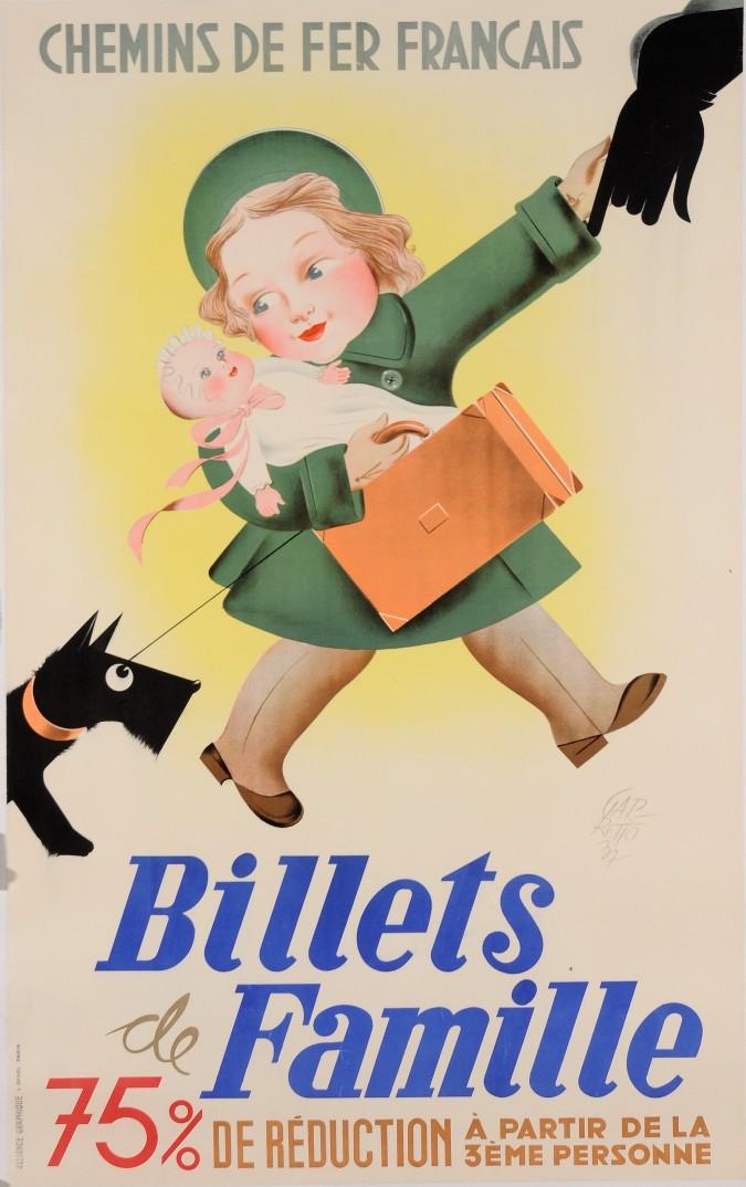 "Original French ART DECO Travel Advertising Poster ""Billets de Famille"" by Gar-Retto 1937"