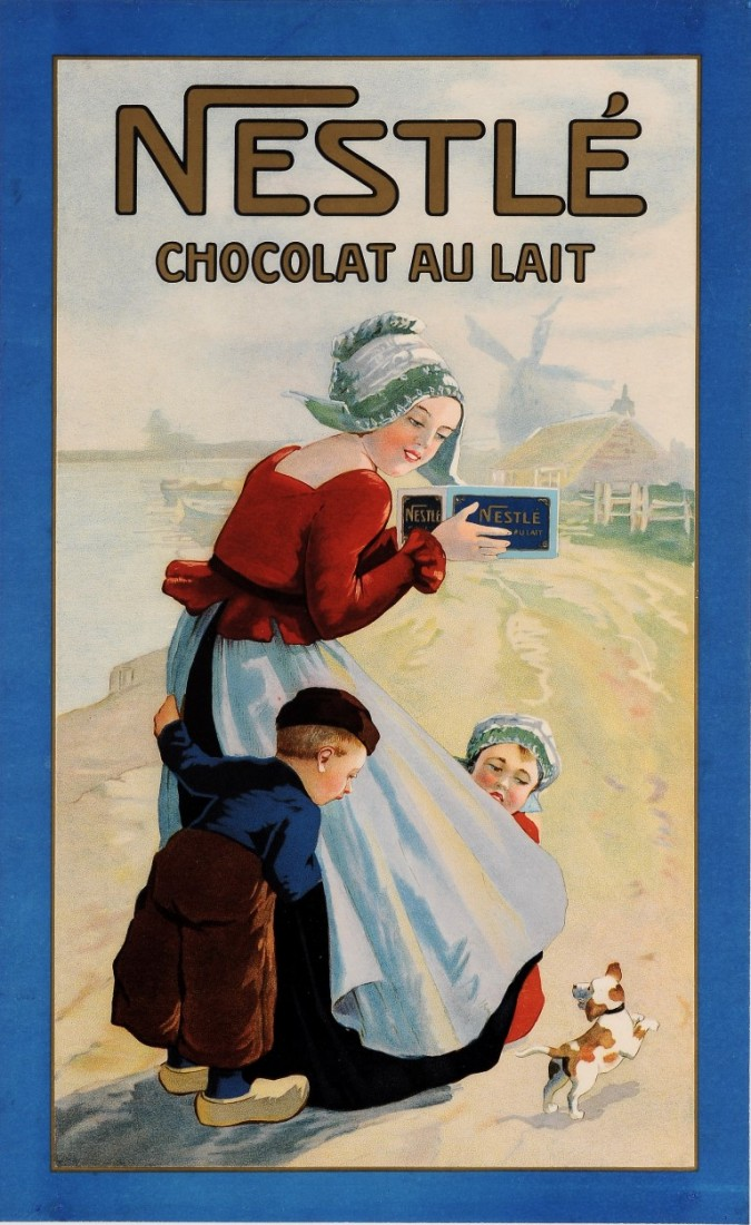 "Original Vintage Swiss Poster ""Chocolat Nestle"" ca. 1900"