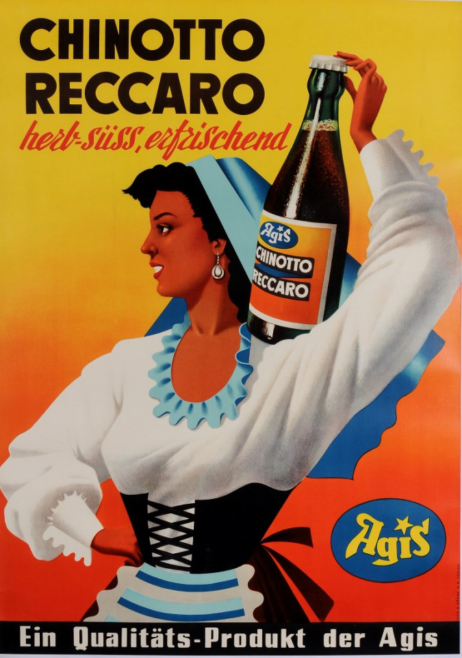 "Original Vintage German Poster ""Chinotto Reccaro  by Agis"" Herbal Drink ca. 1950"