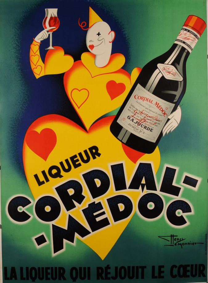 """Original Vintage French Poster Liquor """"Cordial- Medoc"""" by Le Monnier 1950's"""