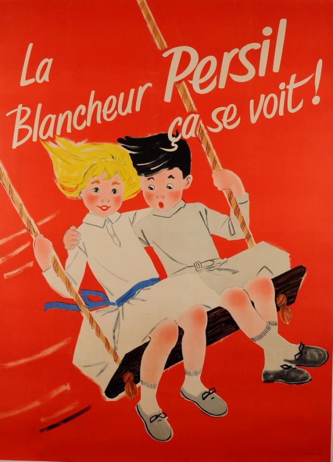 "Original Vintage Children Laundry Soap Advertising Poster for ""Persil"" 1957"