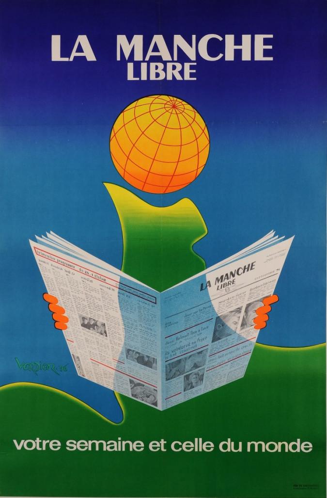 "Vintage French Poster Advertising the News Paper ""La Manche Libre"" Verdier 1976"
