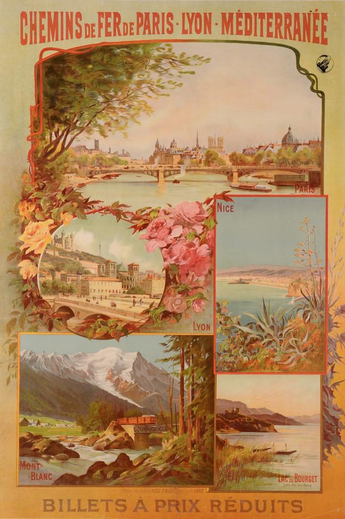 "Original Vintage French Travel Poster ""Chemins de Fer de Paris"" ca. 1900"