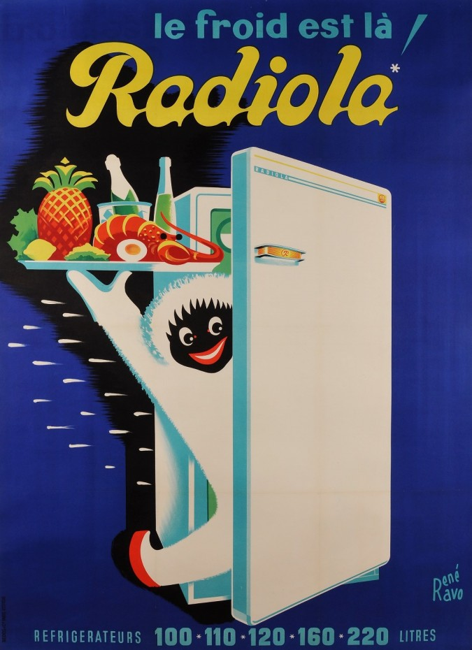 "Original Vintage French Poster for ""Radiola"" Refrigerator by Ravo René 50's-60's"
