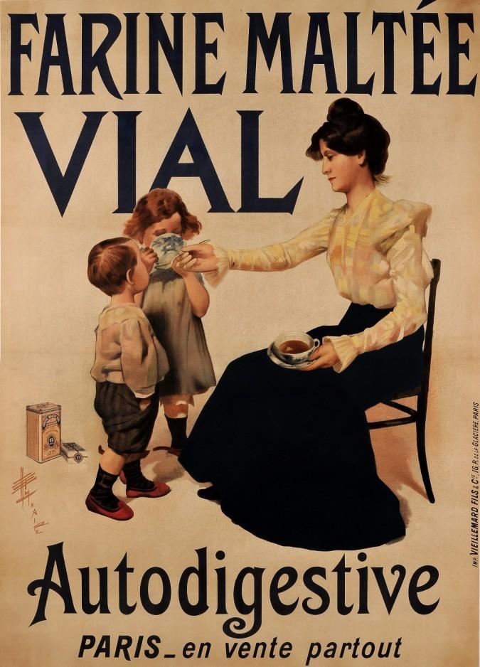 "Original Vintage French Poster Advertising ""Farine Maltee VIAL"" Flour ca. 1920"