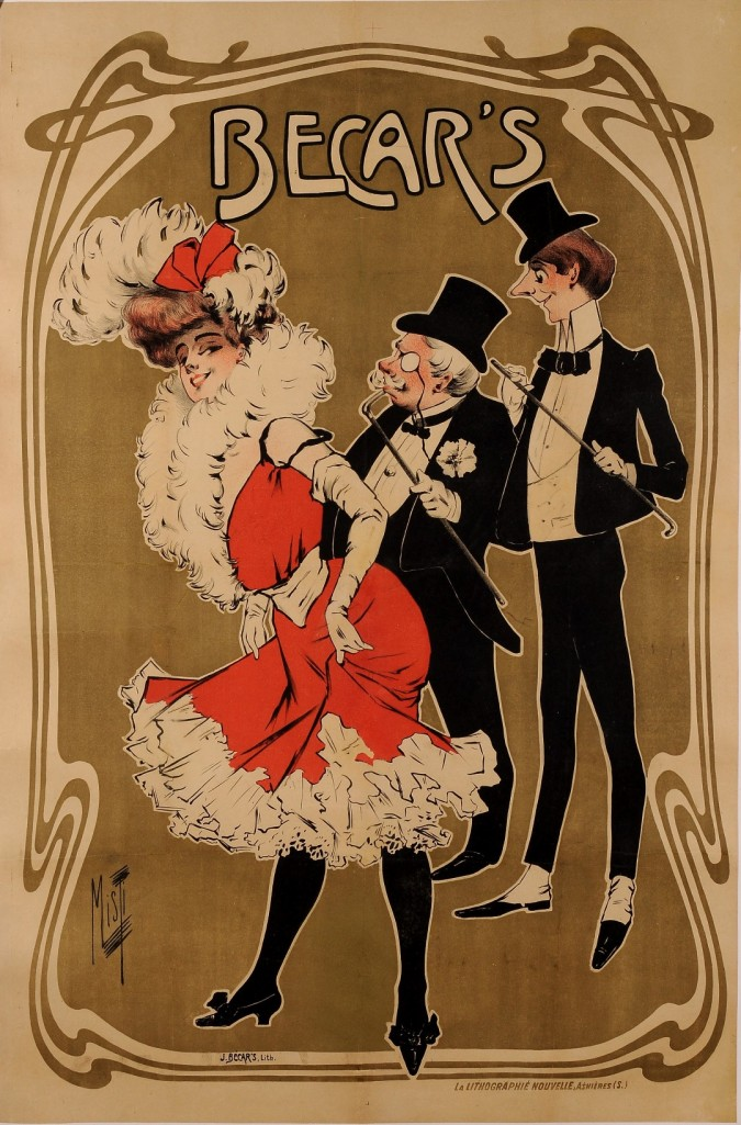 """Original Vintage French Art Nouveau Poster """"Becar's"""" Performer by Misty ca. 1900"""