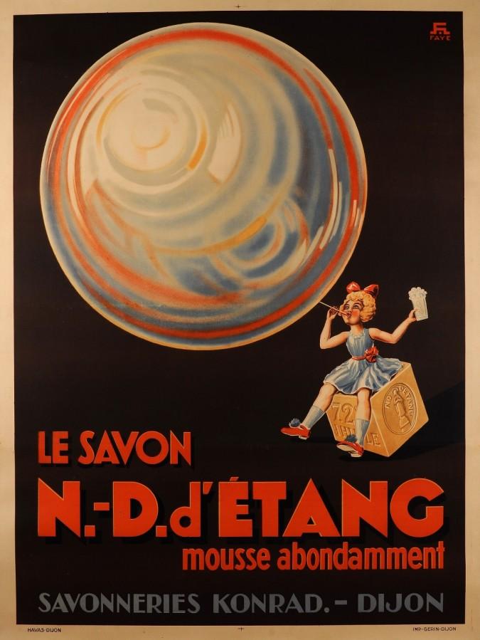 "Original Vintage French Poster for ""Konrad - N-D d'Etang"" Soap by Faye ca. 1930"