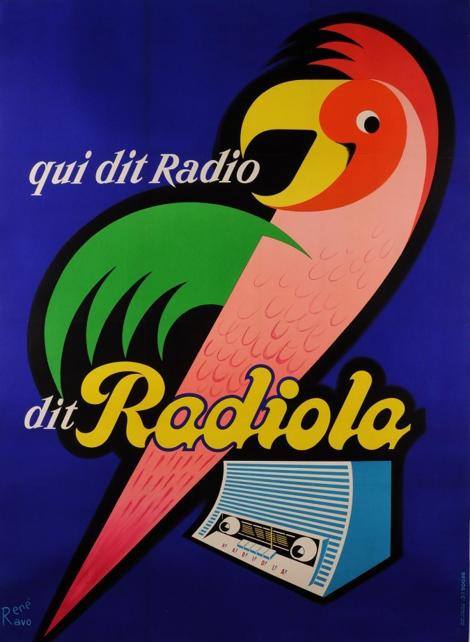 "Original Vintage French Poster Advertising ""Radiola"" Recievers by Rene Ravo 50's"