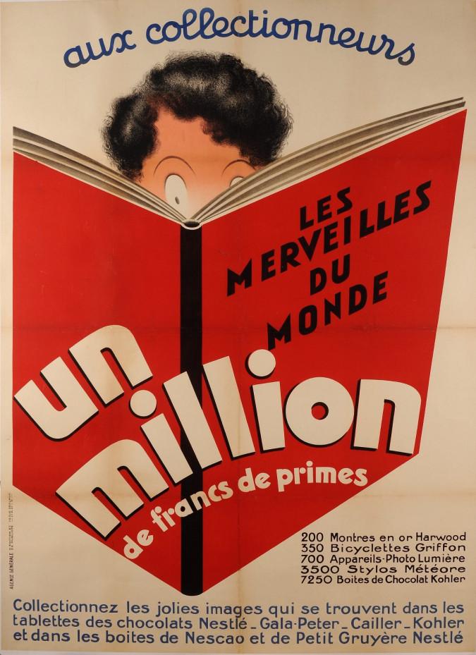 "Original Vintage French Poster for ""Un Million"" Children Coupons ca. 1950"