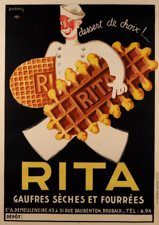 """Original Vintage Belgian Poster for """"Rita"""" Waffle Biscuit by Leon Dupin 1933 On Paper"""