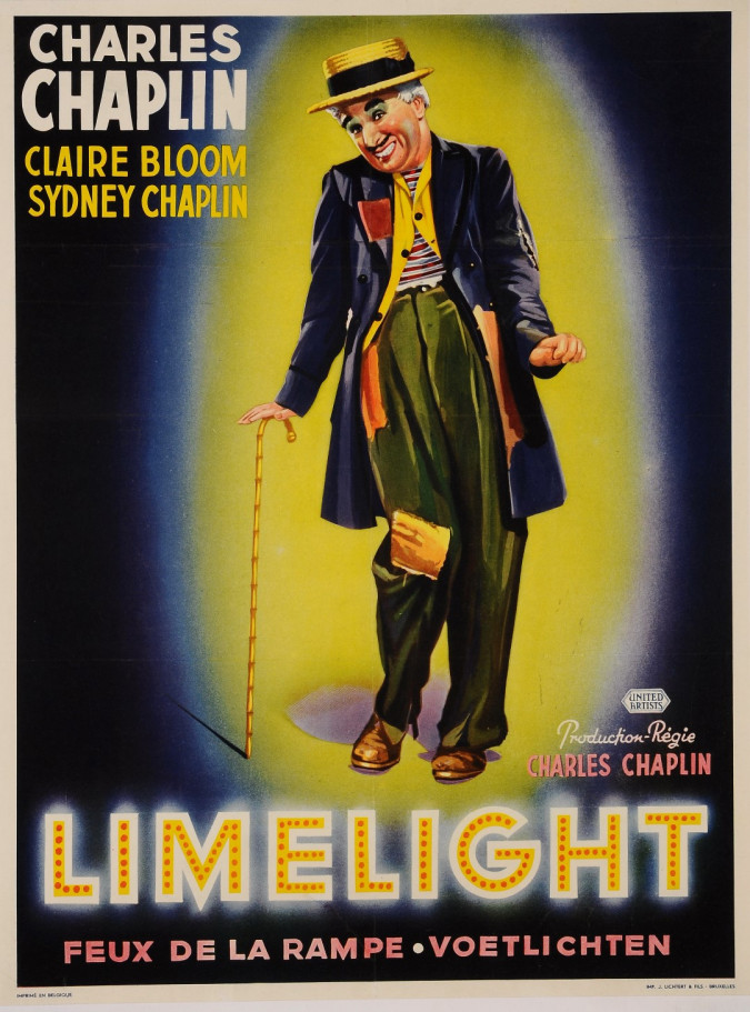 "Original Vintage Belgian Movie Poster for ""Limelight"" Charlie Chaplin Charlot"