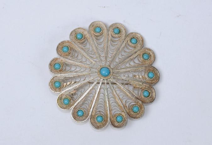 Vintage Bezalel Israel Round Ethnic Silver Filigrin Pin Brooch Turquoise Gemstone