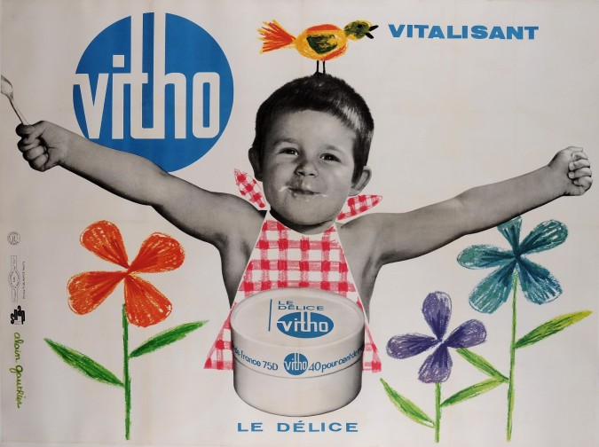 """Original French Poster Advertising """"Vitho"""" Dairy by Alain Gautrier 1960's"""