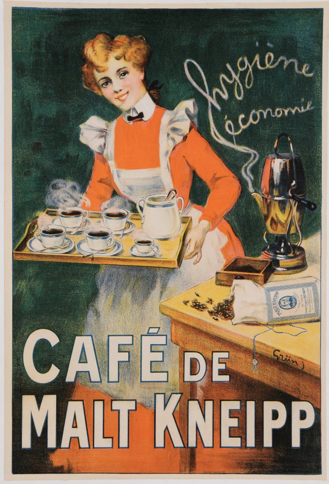 "Original Vintage French Poster ""Cafe de Malt  Kneipp"" by Grun. ca 1900"