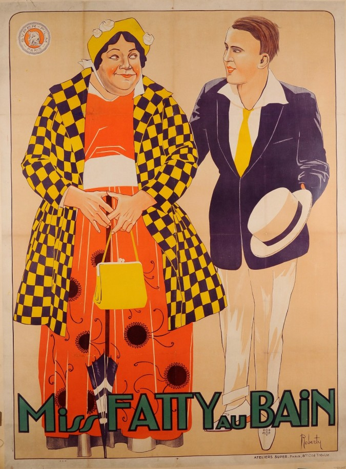 """Original Vintage French Movie Poster Advertising """"Miss Fatty au Bain"""" by Roberti"""