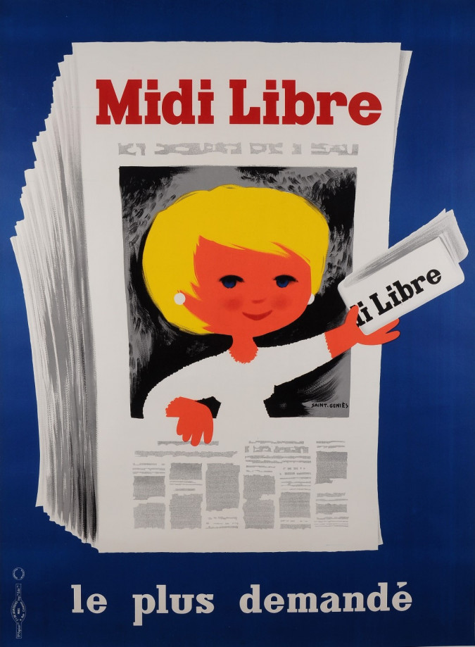 Original Vintage French Poster Advertising Newspaper Midi Libre by Saint-Genies