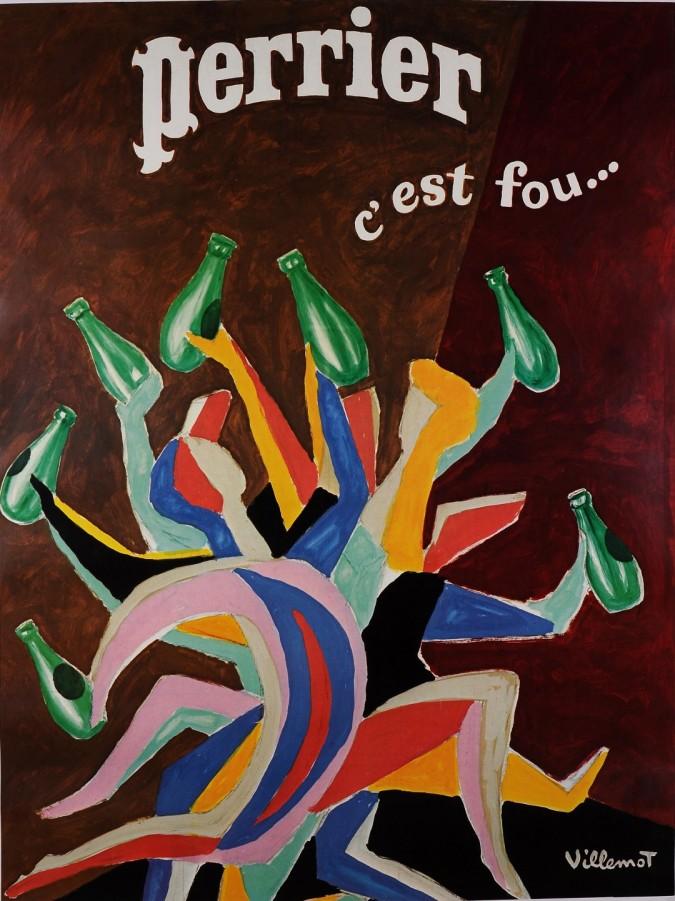 """Original Vintage French Poster for """"Perrier"""" by Bernard Villemot 1970-80's"""