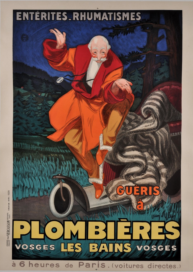 """Original Vintage French Poster """"Plombieres"""" Thermal Baths by J. D'ylen ca. 1931"""
