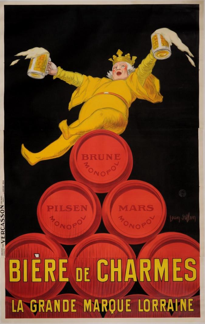 "Original Vintage French Alcohol OVERSIZE Poster for ""Monopol / Biere de Charmes"" Beer by Jean D' Ylen 1924"