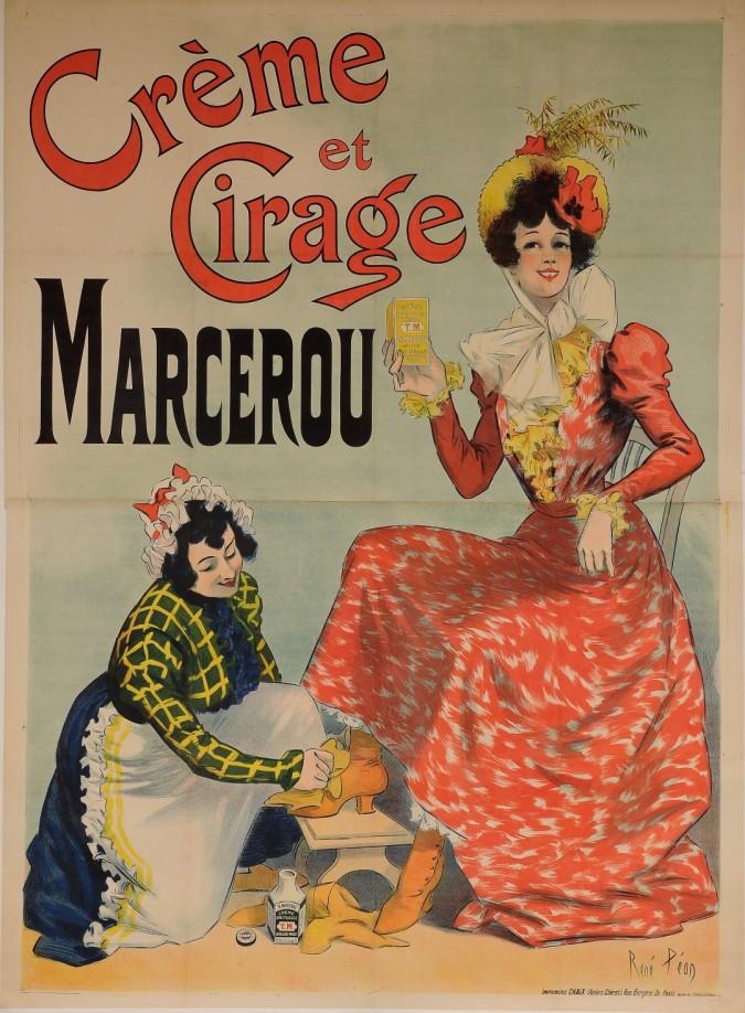 "Original Vintage French OVERSIZE Poster for ""Creme et Cirage Marcerou"" by Rene Pean 1899"