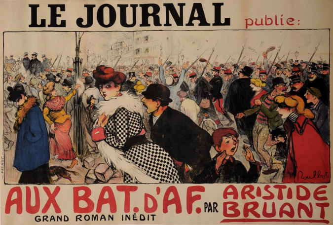 """Original Vintage French OVERSIZE Poster for """"Le Journal"""" by Francisque Poulbot ca. 1900"""