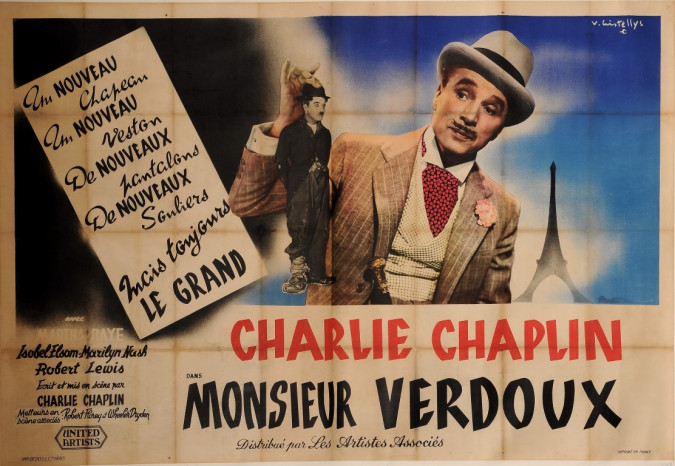 "Original Vintage French OVERSIZE Poster for ""Charlie Chaplin / Monsieur Verdoux"""