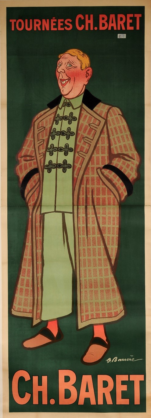 "Original Vintage French OVERSIZE Poster for ""Ch Baret"" Theatre Performer by ADRIEN BARRERE ca. 1900"