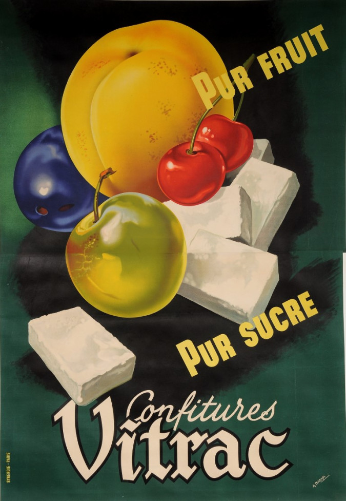 """Original Vintage French OVERSIZE 2 PARTS Poster for """"Confitures Vitrac"""" by A. Baehr ca. 1950"""