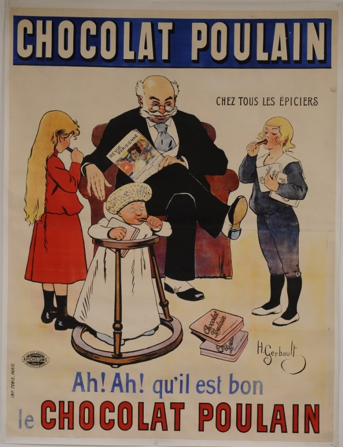 """Original Vintage French OVERSIZE 2 PARTS Poster for """"Chocolat Poulain"""" by H. Gerbault ca. 1900"""
