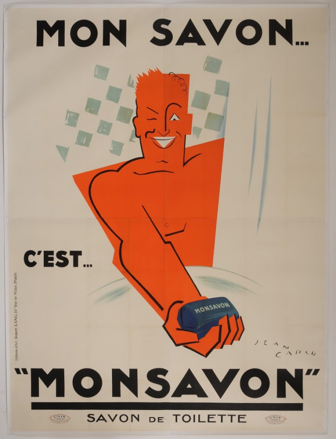 """Original Vintage French OVERSIZE 4 PARTS Poster for """"MONSAVON"""" by Jean Carlu 1925"""