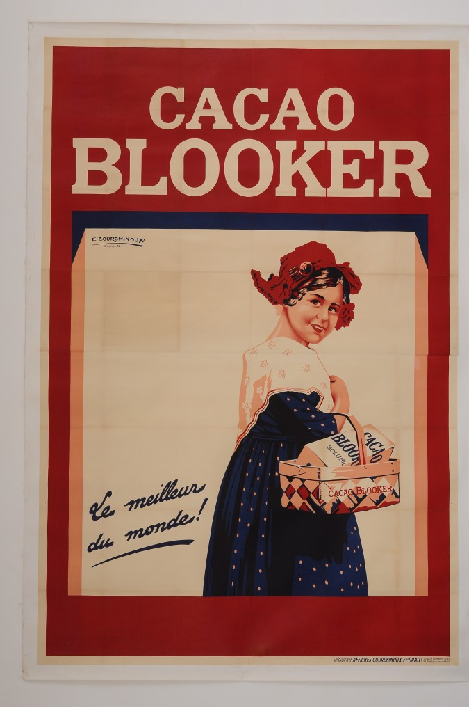 """Original Vintage French OVERSIZE 2 PARTS Poster for """"Cacao Blooker"""" by E. Courchinoux d'apres X"""" 1934"""