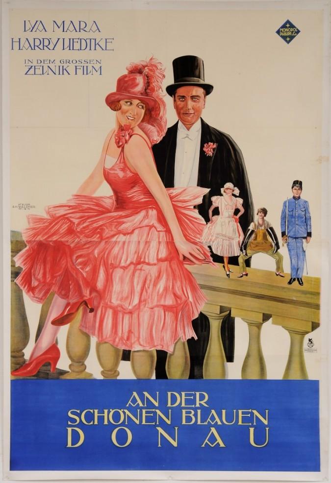 """Original Vintage Austrian OVERSIZE 2 PARTS Movie Poster for """"An Der Schönen Blauen Donau"""" by Atelier Waldner Wien 1950's"""
