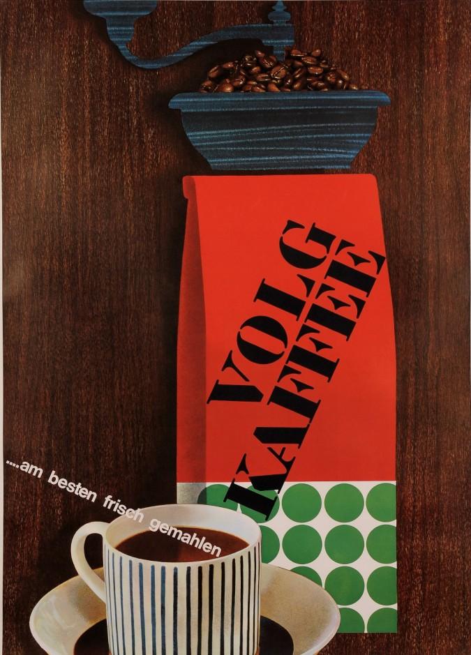 """Original Vintage German Poster Advertising """"Volg Kaffee"""" Coffee 1950's"""