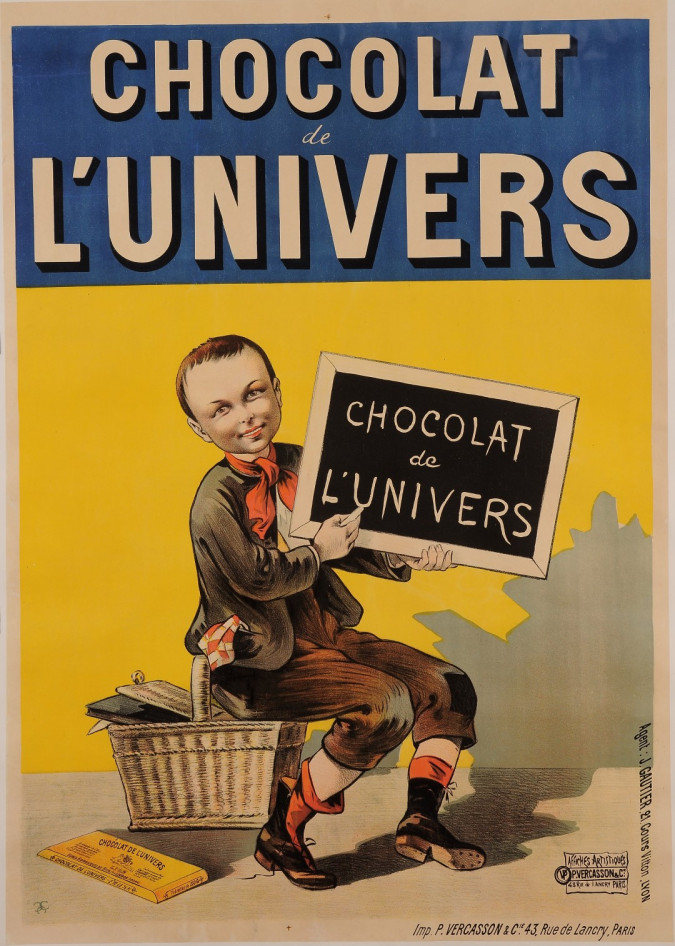 "Original Vintage French Poster for ""Chocolat de L'Univers"" Signed Monogram"