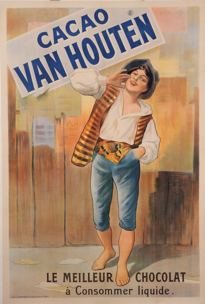 """Original Vintage French Poster Advertising """"Cacao Van Houten"""" Chocolate ca. 1900"""
