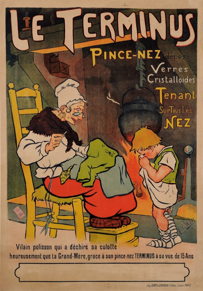 "Original Vintage French Poster for ""Le Terminus Pince Nez"" Eyeglasses by SANDIS"