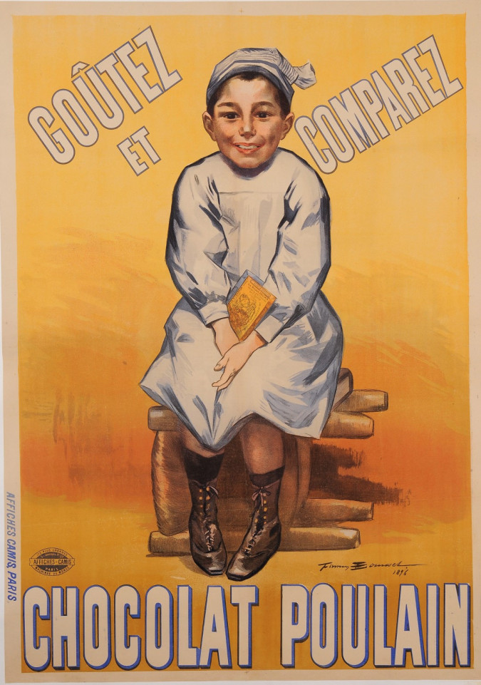 """Original Vintage French Poster Advertising """"Chocolat Poulain"""" by Firmin Bouisset"""